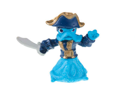 buckler: Adelaide, Australia - July 18, 2015: A studio shot of a Wash Buckler figurine from the Skylanders Swap Force Videogame, issued by McDonalds with Happy Meals. Extremely popular game series worldwide with children.