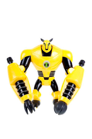 animated action: Adelaide, Australia - September 28 2015:A studio shot of a Armodrillo action figure from the Animated Series Ben 10.Ben 10 is extremely popular worldwide with children.