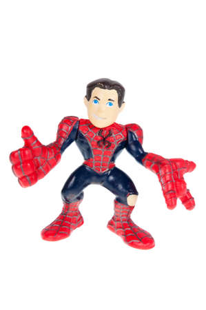 spiderman: Adelaide, Australia - October 05, 2015: A Studio shot of a Peter Parker Spiderman Action Figure isolated on a white background. Merchandise from Marvel comics and movies are highly sought after collectables.