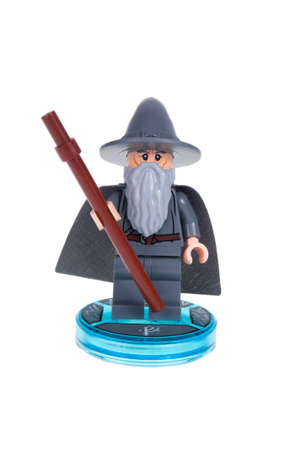 dimensions: Adelaide, Australia - November 17, 2015: A studio shot of a Gandalf Lego minifigure from the Lego Dimensions Video Game. Lego is extremely popular worldwide with children and collectors.