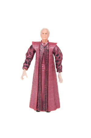 chancellor: Adelaide, Australia - November 13, 2015: A studio shot of a Chancellor Palpatine action figure from the movie series Star Wars. Merchandise from the Star Wars universe are highly sought after collectables.