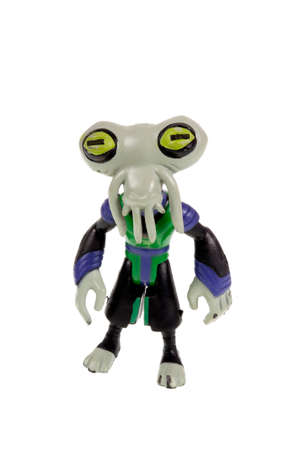 animated action: Adelaide, Australia - September 28 2015:A studio shot of a Azmuth action figure from the Animated Series Ben 10.Ben 10 is extremely popular worldwide with children. Editorial