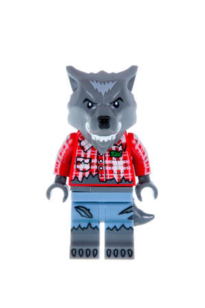 collectable: Adelaide, Australia - October 19, 2015:An isolated shot of a Wolf Guy Lego Minifigure from Series 14 of the collectable lego minifigure toys. Lego is very popular with children and collectors worldwide.