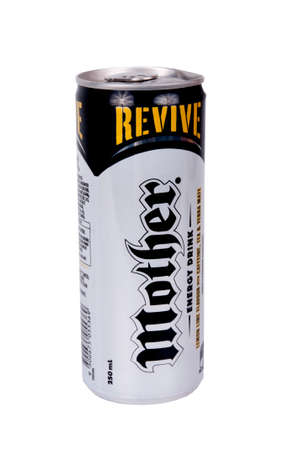 energy drinks: Adelaide, Australia - June 14, 2015: A studio shot of Mother Energy Drink Can isolated on a white background. Mother is one of the popular energy drinks in the world and a major sponsor of sporting events aroun the world.
