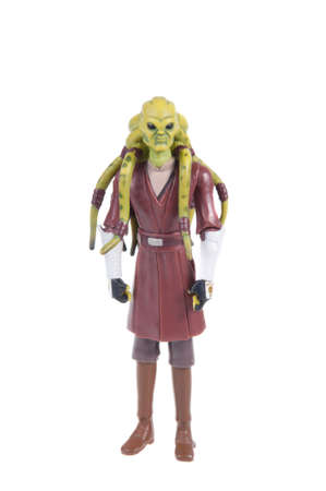 action figure: Adelaide, Australia - November 22, 2015: A studio shot of a Kit Fisto action figure from the movie series Star Wars. Merchandise from the Star Wars universe are highly sought after collectables.