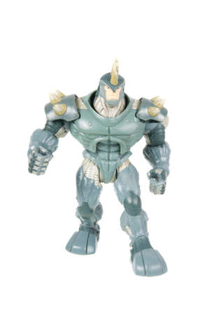marvel: Adelaide, Australia - October 05, 2015: A studio photograph of a Rhino action figure, a villian from the Marvel Spiderman universe.Merchandise from Marvel comics and movies are highly sought after collectables.