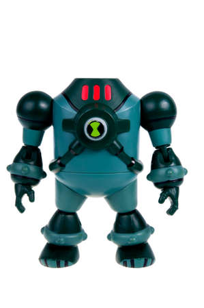 collectable: Adelaide, Australia - November 22, 2015:A studio shot of a NRG action figure from the Animated Series Ben 10.Ben 10 is extremely popular worldwide with children.