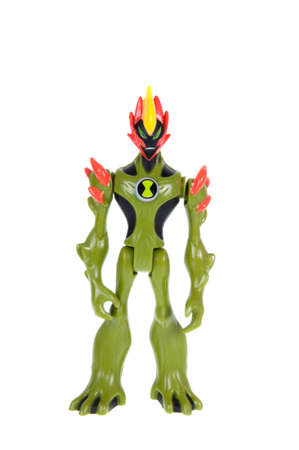 animated action: Adelaide, Australia - October 12 2015:A studio shot of a Swampfire action figure from the Animated Series Ben 10.Ben 10 is extremely popular worldwide with children. Editorial