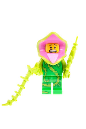 collectable: Adelaide, Australia - September 28, 2015:An isolated shot of a Plant Monster Lego Minifigure from Series 14 of the collectable lego minifigure toys. Lego is very popular with children and collectors worldwide.