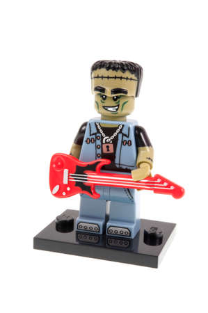 collectable: Adelaide, Australia - September 28, 2015:An isolated shot of a Monster Rocker Lego Minifigure from Series 14 of the collectable lego minifigure toys. Lego is very popular with children and collectors worldwide. Editorial
