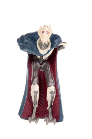 Adelaide, Australia - October 12, 2015: A studio shot of a General Grievous Action Figure on a white background from the Star Wars universe. Star Wars is a very popular movie franchise worldwide, General Grievous is one of the main characters from several