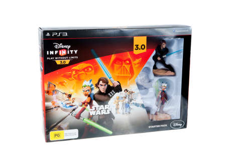 disney: Adelaide, Australia - October 19, 2015: A Studio shot of the Disney Infinity 3.0 video game starter pack. Video game available for all consoles utilising the world of disney and star wars characters with the figurines placed on the interface appearing wit Editorial