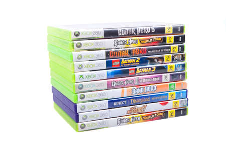 Adelaide, Australia - August 05, 2015: A collection of Xbox 360 games. The Xbox 360 console was released in 2005 by Microsoft and went on to sell over 84 million units world wide. It has now been superseeded by the Xbox One console however it will be supp Redakční
