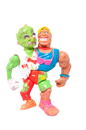 playmates: Adelaide, Australia - May 22, 2015: A photo of a Headbanger action figure from the animated series Toxic Crusaders. Based on the Toxic Avenger movies the series aired on television in the 1990s. Merchandise from this area are highly sought after collecta Editorial
