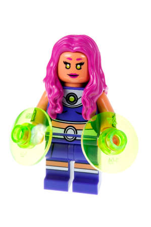 titans: Adelaide, Australia - October 13, 2015: A studio shot of a Starfire Lego minifigures from the Batman DC comics and movies. Lego is extremely popular worldwide with children and collectors.