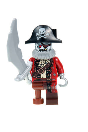 collectable: Adelaide, Australia - October 19, 2015:An isolated shot of a Zombie Pirate Lego Minifigure from Series 14 of the collectable lego minifigure toys. Lego is very popular with children and collectors worldwide.