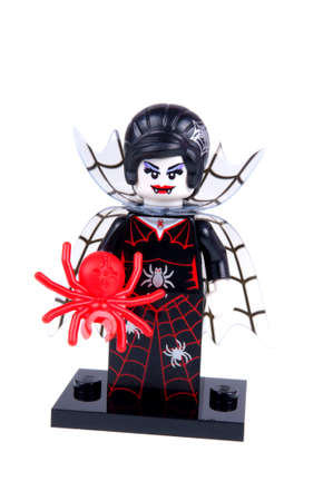 collectable: Adelaide, Australia - September 29, 2015:An isolated shot of a Spider Lady Lego Minifigure from Series 14 of the collectable lego minifigure toys. Lego is very popular with children and collectors worldwide.