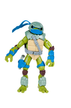 action figure: Adelaide, Australia - November 03, 2015: An isolated image of a Leonardo Action Figure from the Teenage Mutant Ninja Turtles. Teenage Mutant Ninja Turtles is a very popular animated and movie series with merchandise being highly sought after collectables. Editorial