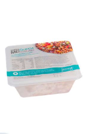 internationally: Adelaide, Australia - June 16, 2015: A box of Jenny Craig Cuisine Quinoa Salad isolated on a white background. Jenny Craig is a Weight Management and Nurtrition Company founded in the 1980s. The company now operates internationally and assists people wit