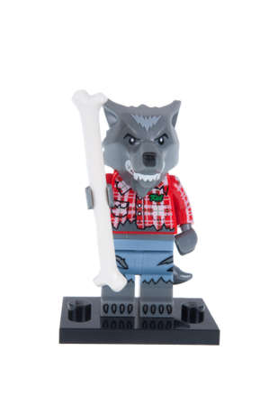 collectable: Adelaide, Australia - November 03, 2015:An isolated shot of a Wolf Guy Lego Minifigure from Series 14 of the collectable lego minifigure toys. Lego is very popular with children and collectors worldwide.