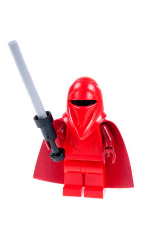 stormtrooper: Adelaide, Australia - September 28, 2015: A studio shot of a Royal Guard Lego minifigure from the Star Wars movie series. Lego is popular with children and collectors worldwide.