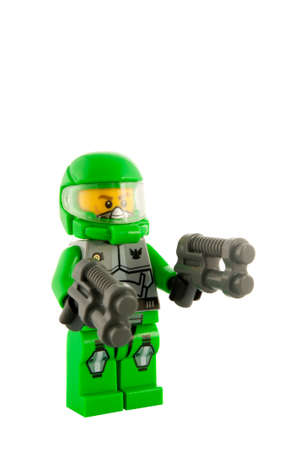 squad: Adelaide, Australia - December 24,2014:A studio shot of a Chuck Stonebreaker Lego minifigure from the Lego Galaxy Squad series. Lego is extremely popular worldwide with children and collectors.