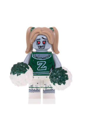 collectable: Adelaide, Australia - October 26, 2015:An isolated shot of a Zombie Cheerleader Lego Minifigure from Series 14 of the collectable lego minifigure toys. Lego is very popular with children and collectors worldwide.