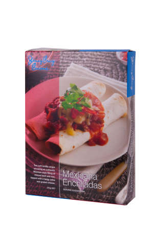 peo: Adelaide, Australia - June 14, 2015: A box of Jenny Craig Cuisine Mexicana Enchiladas isolated on a white background. Jenny Craig is a Weight Management and Nurtrition Company founded in the 1980s. The company now operates internationally and assists peo