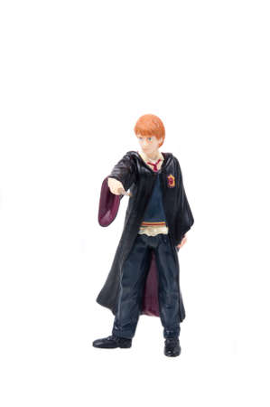 ron: Adelaide, Australia - August 04, 2015: A studio shot of a Ron Weasley Figurine from the popular J. K. Rowlings Harry Potter series. A collectable item sold worldwide.