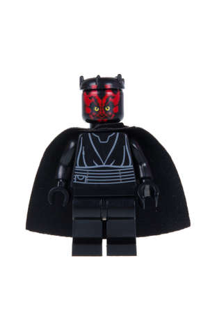 maul: Adelaide, Australia - October 06 2015:A studio shot of a Darth Maul Lego minifigure from the Star Wars Theme. Lego is extremely popular worldwide with children and collectors.