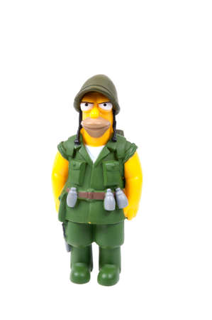 abe: Adelaide, Australia - August 04 2015:A studio shot of a Fighting Abe Simpson Figurine from the animated series The Simpsons. The Simpson is a popular worldwide TV Series.