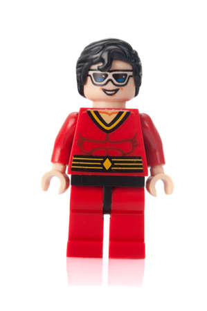 brick: Adelaide, Australia - February 26, 2015: A studio shot of a Plastic Man custom Lego minifigure from the DC comics universe. Lego is extremely popular worldwide with children and collectors.