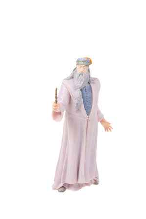 collectable: Adelaide, Australia - August 04, 2015: A studio shot of a Professor Albus Dumbledore Figurine from the popular J. K. Rowlings Harry Potter series. A collectable item sold worldwide. Editorial