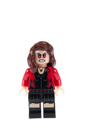 marvel: Adelaide, Australia - July 18,2015:An isolated shot of a Scarlet Witch Custom Lego Minifigure from the Marvel Universe. Lego is very popular with children and collectors worldwide.