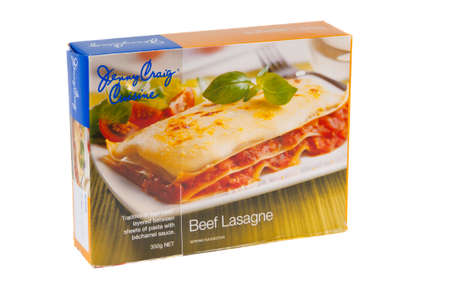 jenny: Adelaide, Australia - June 16, 2015: A box of Jenny Craig Cuisine Beef Lasagne isolated on a white background. Jenny Craig is a Weight Management and Nurtrition Company founded in the 1980s. The company now operates internationally and assists people wit