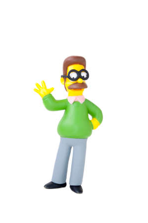 collectable: Adelaide, Australia - November 24 2014:A studio shot of a Ned Flanders Figurine from the animated series The Simpsons. The Simpson is a popular worldwide TV Series.