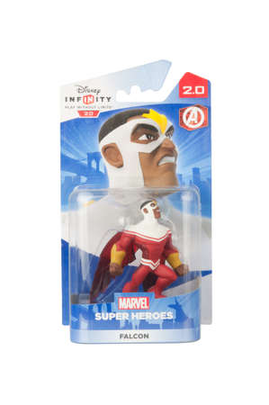 disney: Adelaide, Australia - April 13, 2015: A studio shot of a Falcon Figurine from the Marvel comics and movies. Marvel comics and movies are extremely popular worldwide. This figurine is part of the disney infinity 2.0 video game, where placing the figure on