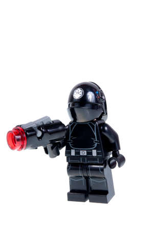 gunner: Adelaide, Australia - September 28, 2015: A studio shot of an Imperial Gunner Lego minifigure from the Star Wars Movie Series. Lego is extremely popular worldwide with children and collectors.