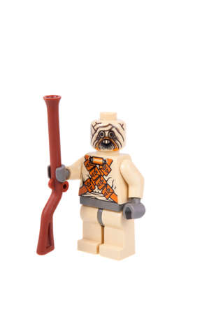 raider: Adelaide, Australia - September 07, 2015: A studio shot of a Tusken Raider Lego minifigure from the Star Wars movie series. Lego is popular with children and collectors worldwide.