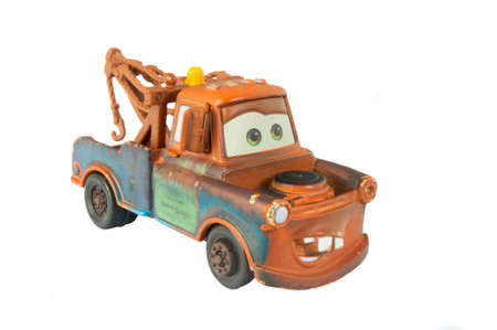 disney: Adelaide, Australia - March 20, 2015: A studio shot of a Mater toy car from the Disney pixar movie Cars. Cars is an extremely popular animated movie with children worldwide. Editorial