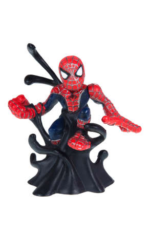 spiderman: Adelaide, Australia - October 05, 2015: A Studio shot of a Spiderman Action Figure isolated on a white background. Merchandise from Marvel comics and movies are highly sought after collectables.