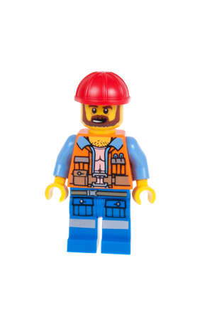 frank: Adelaide, Australia - October 5, 2015: Frank the Foreman Lego Minifigure from the 70807 MetalBeards Duel Lego Kit isolated on a white background. Lego is very popular with children and collectors worldwide.