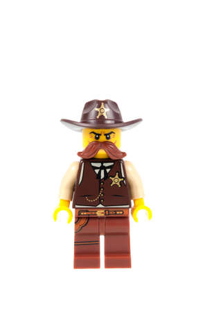 paleontologist: Adelaide, Australia - September 07 2015:A studio shot of a Sheriff Lego minifigure from Minifigure Series 13. Lego is extremely popular worldwide with children and collectors. Editorial