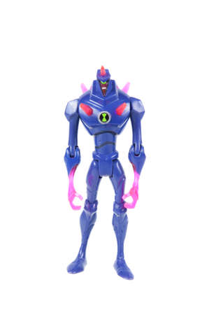 animated action: Adelaide, Australia - July 29 2015:A studio shot of a Chromastone action figure from the Animated Series Ben 10.Ben 10 is extremely popular worldwide with children.
