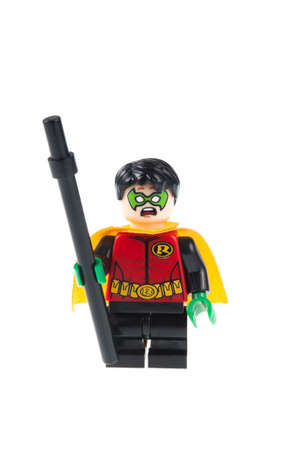 batman: Adelaide, Australia - July 18,2015:An isolated shot of a Robin Custom Lego Minifigure from the Batman Universe. Lego is very popular with children and collectors worldwide.