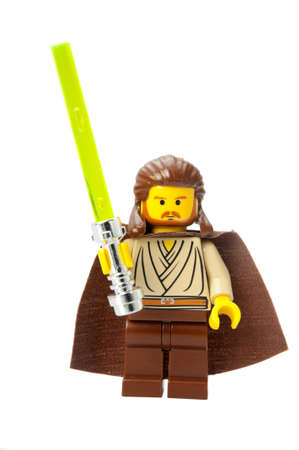 jinn: Adelaide, Australia - February 26, 2015: A studio shot of a Qui-Gon Jinn Lego minifigure from the Star Wars Movies. Lego is extremely popular worldwide with children and collectors.
