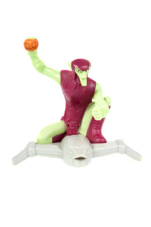 spiderman: Adelaide, Australia - April 21, 2015: A studio shot of a Green Goblin figurine from the Marvel Spiderman movie and comics issued by McDonalds with Happy Meals in 2009. Extremely popular movie series worldwide with children.