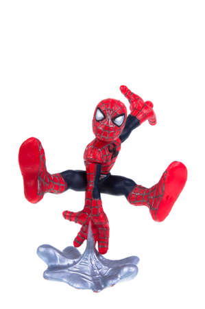 spiderman: Adelaide, Australia - September 28, 2015: A Studio shot of a Spiderman Action Figure isolated on a white background. Merchandise from Marvel comics and movies are highly sought after collectables. Editorial