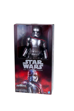 stormtrooper: Adelaide, Australia - December 25, 2015:An isolated shot of an unopened 2015 First Order Captain Phasma Stormtrooper action figure from the Star Wars The Force Awakens movie.Merchandise from the Star Wars movies are highy sought after collectables.