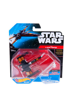 sought: Adelaide, Australia - December 20, 2015: An unopened Hot Wheels Star Wars X-Wing Fighter Diecast Vehicle. Merchandise from the Star Wars universe are highly sought after collectables.
